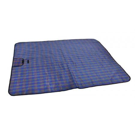 Deka na piknik / k vodě, skládací s držadlem, modrá kostka, 145x180 cm