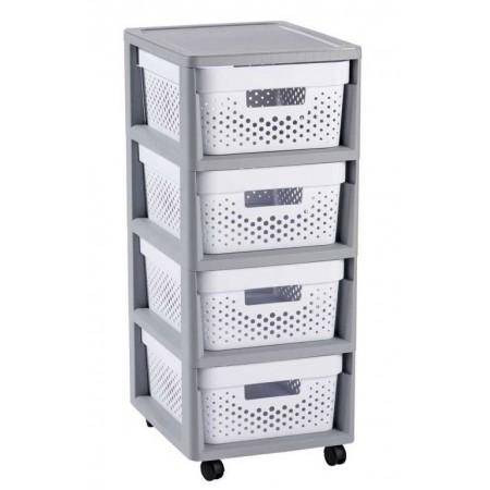 Plastový regál s úložnými bednami, na kolečkách, odvětrávaný, bílá / šedá, 69 cm