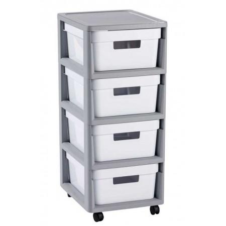 Plastový regál s úložnými bednami, na kolečkách, bílá / šedá, 69 cm