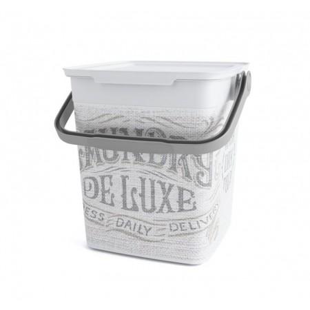 Plastový úložný box s víkem a madlem, dekorativní potisk, 9 L