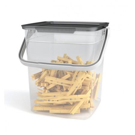 Plastový úložný box s víkem a madlem, průhledný, 9 L