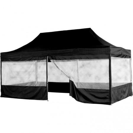 Skládací párty stan (nůžkový) 3x6 m s velkými okny, černý
