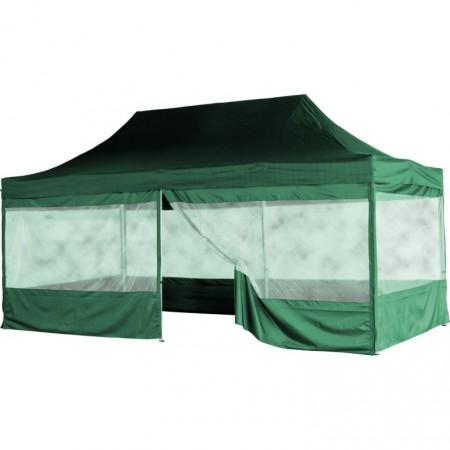 Skládací párty stan (nůžkový) 3x6 m s velkými okny, zelený
