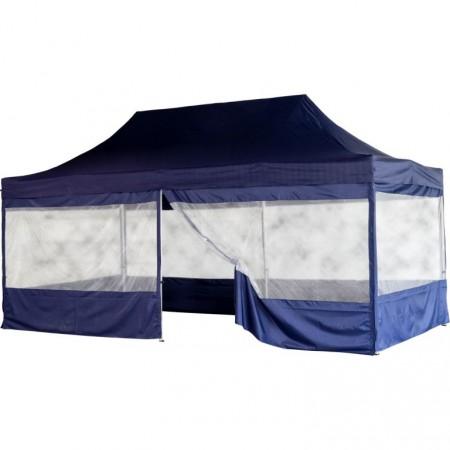 Skládací párty stan (nůžkový) 3x6 m s velkými okny, modrý