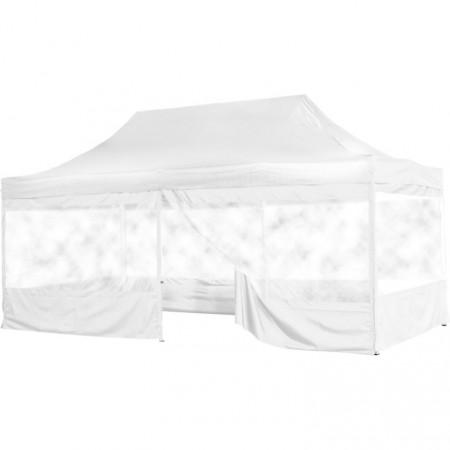 Skládací párty stan (nůžkový) 3x6 m s velkými okny, bílý