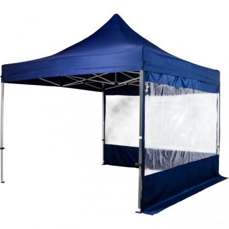 Nůžkový skládací párty stan 3x3 m, 2 stěny s velkými okny, modrý