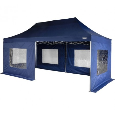 Zahradní párty stan s hliníkovou konstrukcí 3x6 m, nůžkový, stěny s okny, modrý
