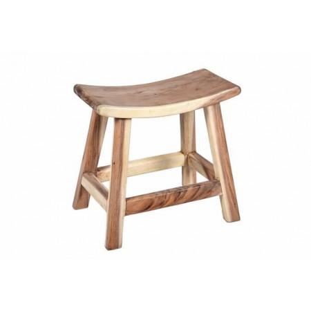 Designová prohnutá stolička do interiéru, masivní dřevo Suar, 46 cm