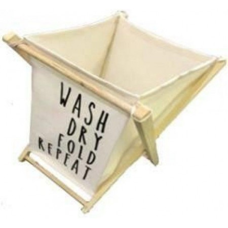 Designový koš na špinavé prádlo, dřevo / bavlna, 65x45x43 cm
