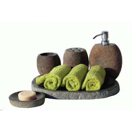 Luxusní koupelnová sada z přírodního říčního kamene 5 ks