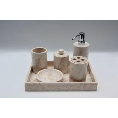 Luxusní koupelnová sada z přírodního mromoru, krémová, 5 ks