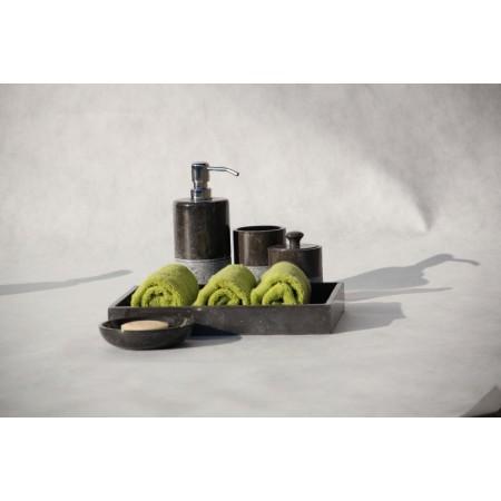 Luxusní koupelnová sada z přírodního mromoru, černá, 5 ks
