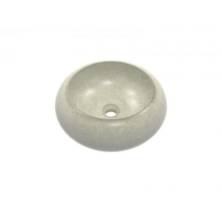 Kulaté mramorové umyvadlo na desku, krémově šedé, průměr 36 cm