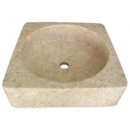 Luxusní kamenné umyvadlo čtvercové, ručně leštěné, krémové, 34x34 cm