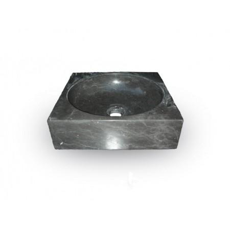 Luxusní kamenné umyvadlo čtvercové, ručně leštěné, černé, 34x34 cm