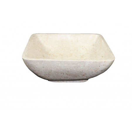 "Designové kamenné umyvadlo do koupelny- čtvercová ""miska"", krémové, 45x45 cm"