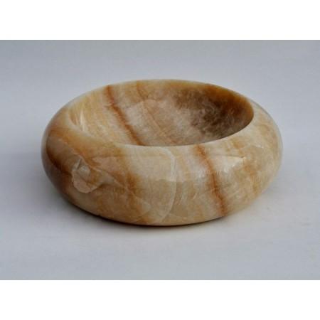 Luxusní umyvadlo do koupelny kulaté - kámen onyx, průměr 40 cm