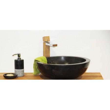 Luxusní leštěné mramorové umyvadlo, provedení na desku, černé, průměr 50 cm