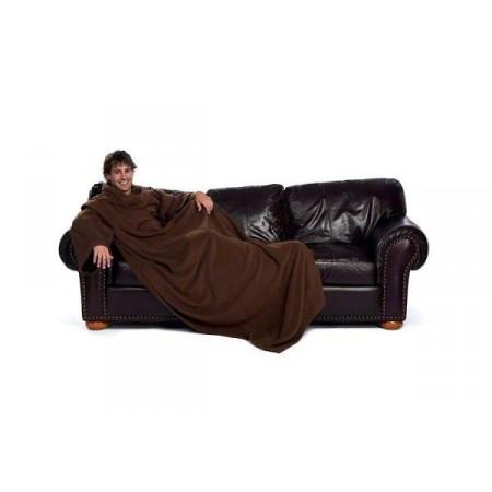 Hřejivá televizní deka s rukávy XXL, hnědá, 190 x 140 cm