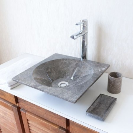 Luxusní kamenné umyvadlo z Onyxu, čtverec, provedení na desku, šedivé, 43x43 cm