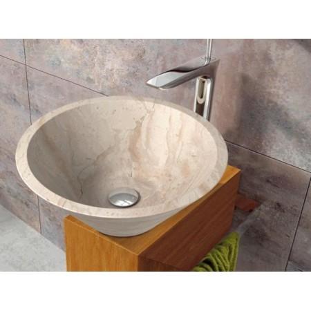 Designové mramorové umyvadlo - přírodní kámen, kulaté, krémové- leštěné, průměr 35 cm