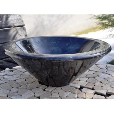Designové mramorové umyvadlo - přírodní kámen, kulaté, černé- leštěné, průměr 35 cm