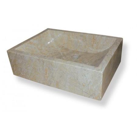 Masivní kamenné umyvadlo na desku - leštěný mramor, krémové, 55x40 cm