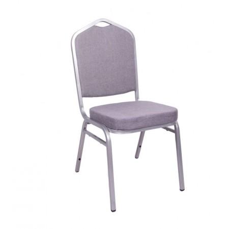 Konfereční / kongresová židle s kovovým rámem, polstrovaná, šedá