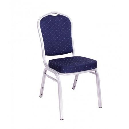 Konfereční / kongresová židle s kovovým rámem, polstrovaná, modrá
