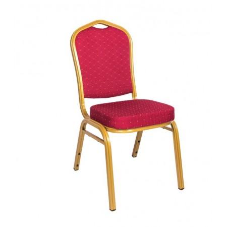 Konfereční / kongresová židle s kovovým rámem, polstrovaná, červená