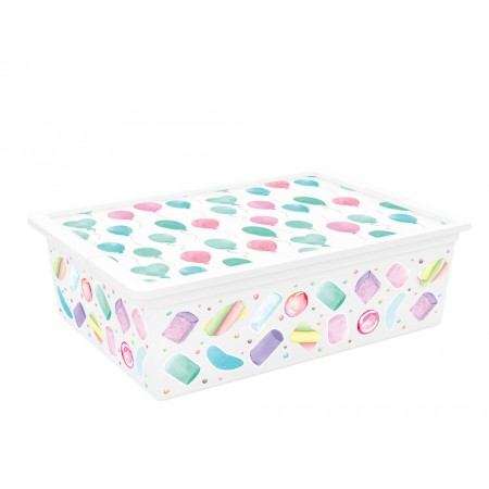 Úložný plastový box do interiéru, s víkem, barevný potisk, 27 L