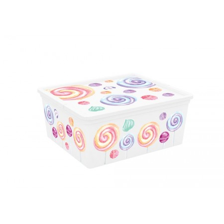 Úložný plastový box do interiéru, s víkem, barevný potisk, 18 L