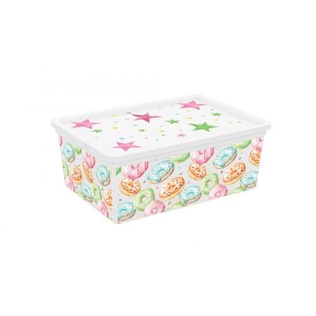 Úložný plastový box do interiéru, s víkem, barevný potisk, 11 L