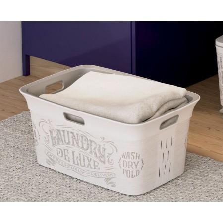 Plastový koš na čisté prádlo, nízký, s úchyty, krémový + potisk, 45 L
