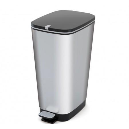 Odpadkový nášlapný koš na odpadky, stříbrný, 50 L