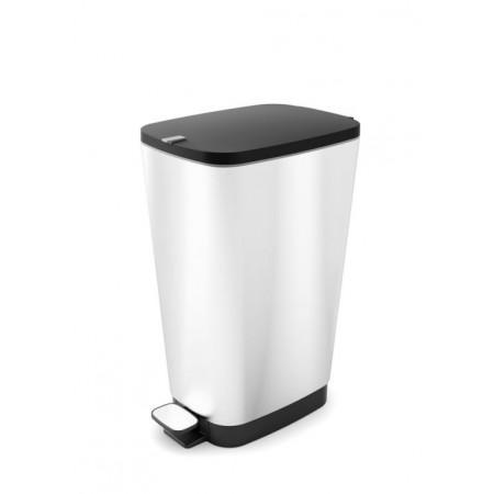 Odpadkový nášlapný koš na odpadky, stříbrný, 35 L