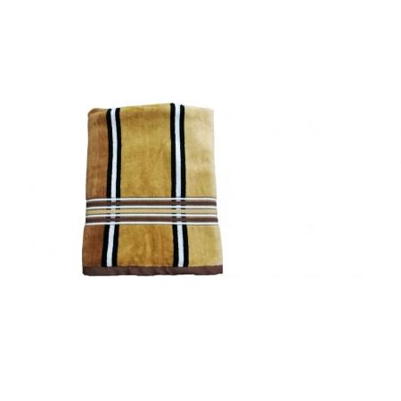 Ručník / osuška velur - froté, pruhy, 70x140 cm, hnědá