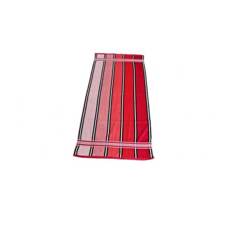Ručník / osuška velur - froté, pruhy, 70x140 cm, červená