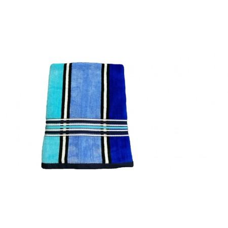 Ručník / osuška velur - froté, pruhy, 70x140 cm, modrá