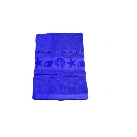 Kvalitní froté ručník- jednobarevný s mořskými plody, 100% bavlna, 50x100 cm, kr. modrý