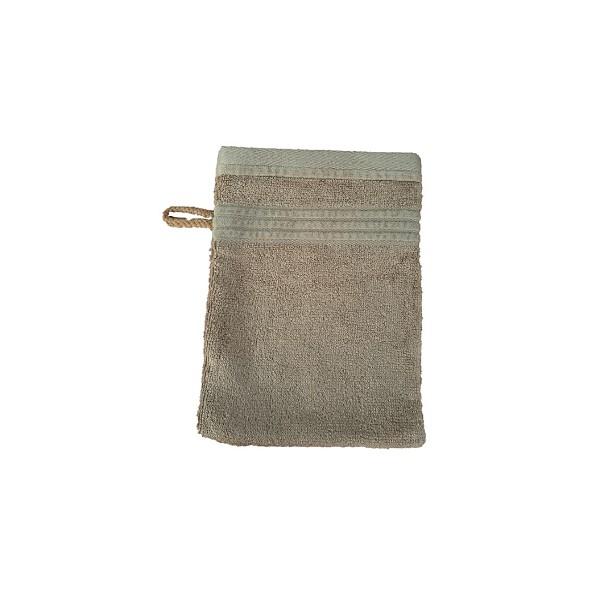 Měkká antibakteriální žínka, bambusové vlákno / bavlna, 14x22 cm, světle hnědá