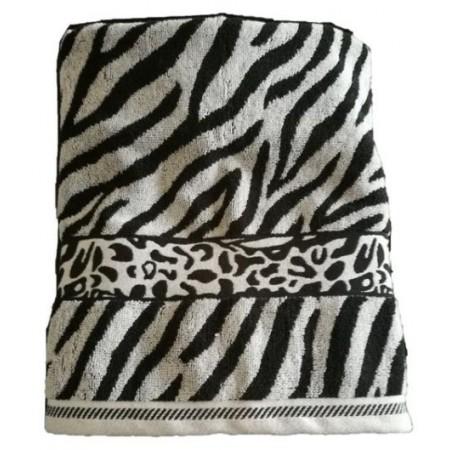 Silnější bavlněný ručník se zebrovaným vzorem, 50x100 cm, bílá / černá