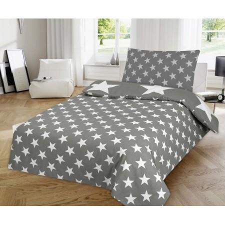 Povlečení na polštář + přikrývku, šedá + bílé hvězdy, 70x90cm+140x200cm