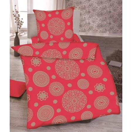 Ložní povlečení ze 100% bavlny, červená - vzor Mandala, jednolůžko 70x90cm+140x200 cm