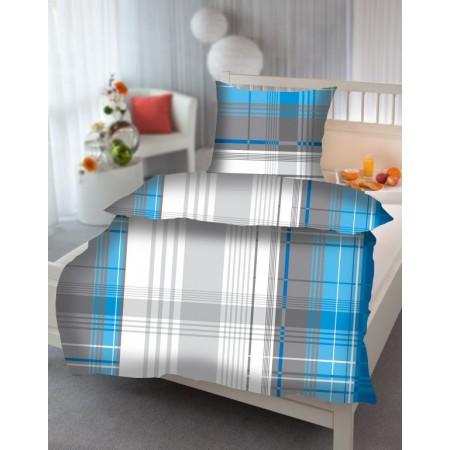 Ložní povlečení z bavlněného saténu, vzor House - modrá / šedá / bílá, jednolůžko 70x90cm+140x200 cm