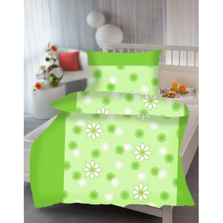 Mikrosaténové krepové povlečení na jednolůžko, vzor Gerda - zelená + květy, 70x90+140x200cm