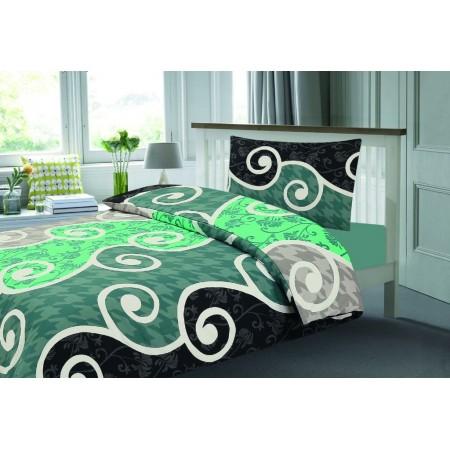 Povlečení na postel, vzor Sicílie - černá / bílá / zelená, 70x90cm+140x200cm