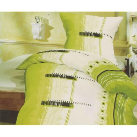 Povlečení na polštář + přikrývku, bavlněný satén, odstíny zelené, 70x90cm +140x200cm