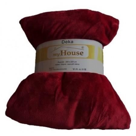Hřejivá deka z mikrovlákna, 200x220 cm, vínová