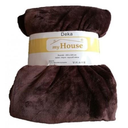 Hřejivá deka z mikrovlákna, 200x220 cm, tmavě hnědá